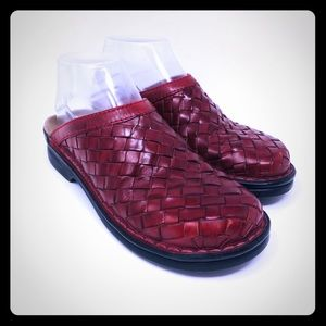 CLARKS Stella Red Woven Clog